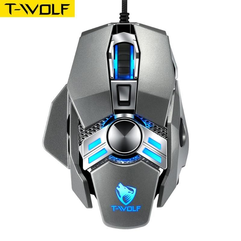 الفئران T-Wolf السلكية الألعاب ماوس V10 مريح قابل للبرمجة مع 7 أزرار 4 طرق الإضاءة الخلفية تصل إلى 6400 لوحة المفاتيح DPI للاعبين