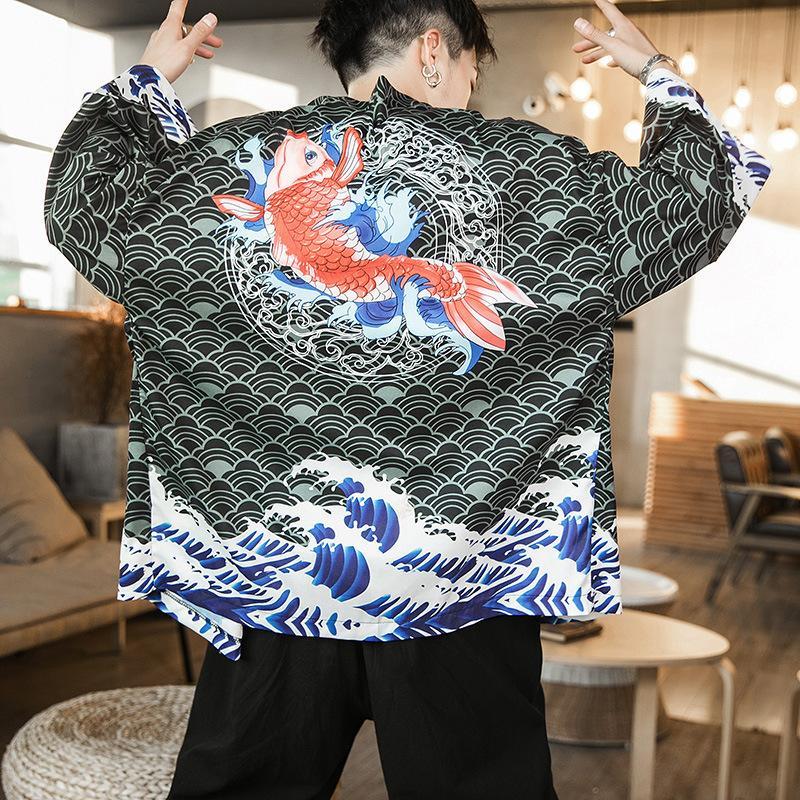Imprimez Floral Cardigan Hommes Novelty Shirt Mince Japonais Kimono Traditionnel Homme Traditionnel 2021 Été Nouveaux costumes