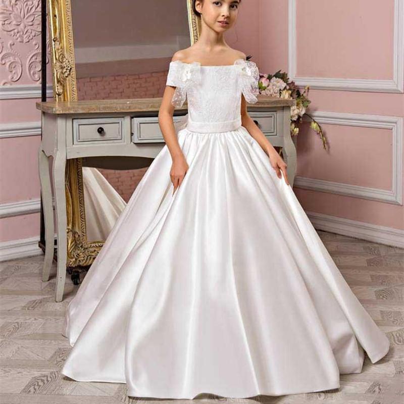 Vestidos de niña de la niña Vestido de la niña de la flor para el piso de la boda de la longitud del piso de la boda Satin Ruffle ROP Bow Lace Princess Books