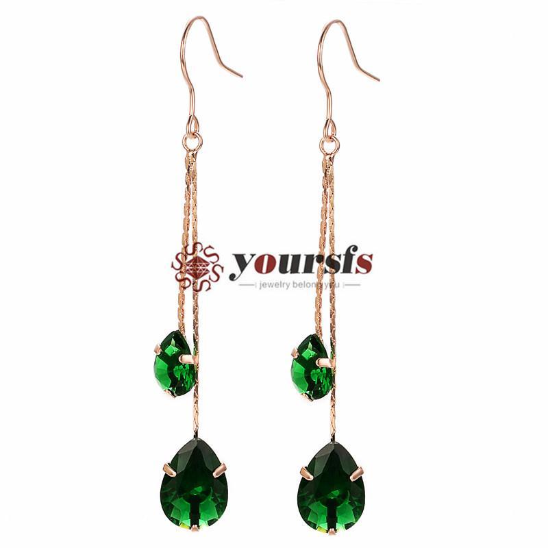 Yoursfs mode-sieraden 18k vergulde groene water drop oor haak hanger oorbellen vrouw verjaardag verjaardagscadeau