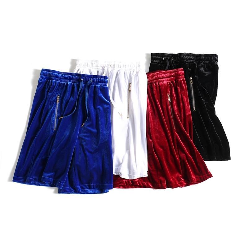 Mens de veludo shorts hip-hop enorme de malha de malha de veludo Bolicy Bolicy / Branco / Vermelho / Azul Veludo Lateral Zipper Corredores Sours Masculino 210310