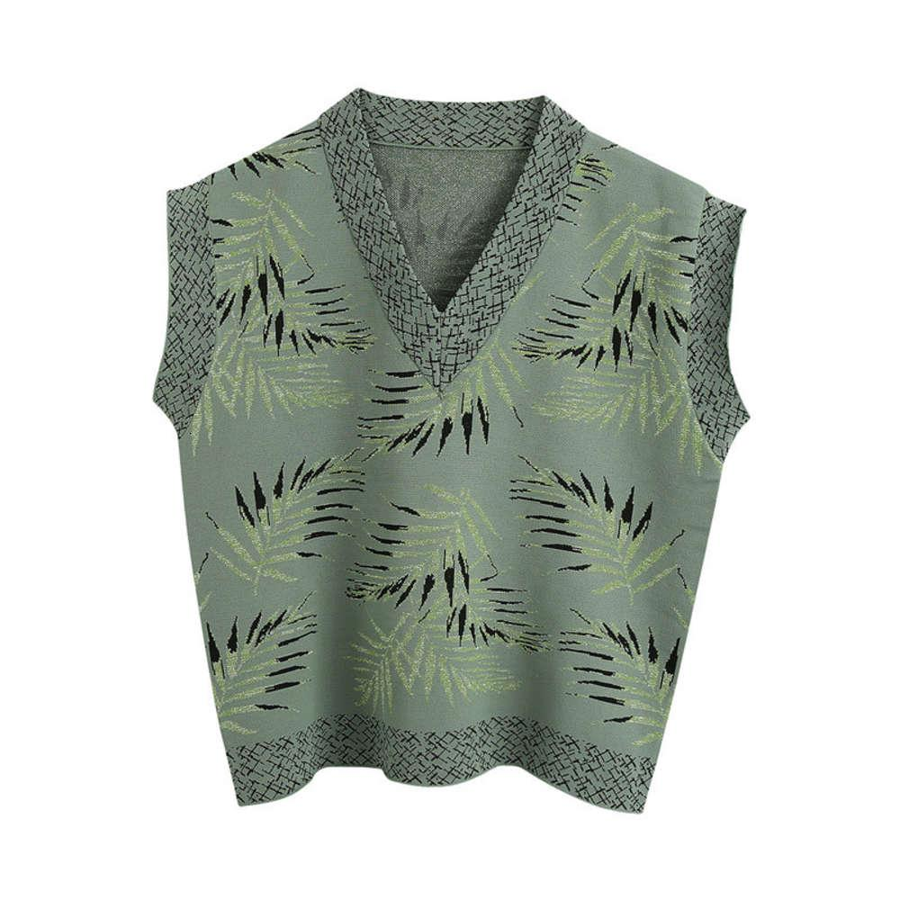 Women Leaf Pattern Knitted Vest Fashion V Neck Sleeveless Female Waistcoat Army Green Loose Tops
