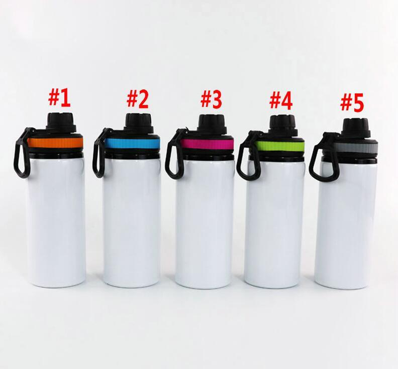 Sublimation Aluminiumrohstoffe Wasserflaschen 600ml Hitzebeständige Wasserkocher Sportweiße Abdeckbecher mit Griff Meer Versand WWA183