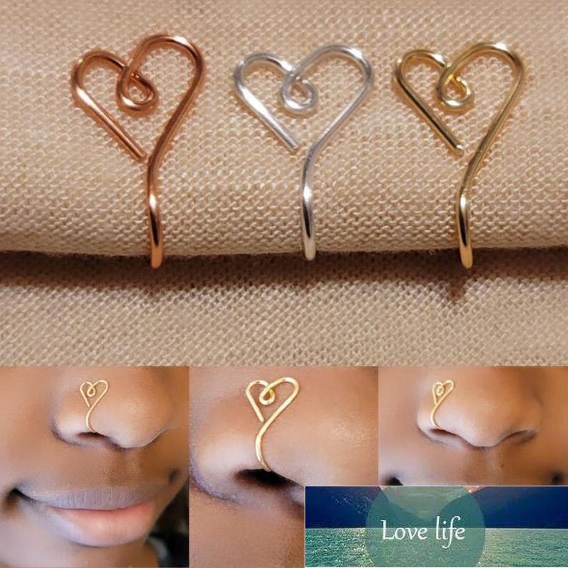 Orijinal kalp şekli burun manşet yüzük kadınlar için bakır tel sahte piercing altın gümüş renk klip burun halka vücut takı
