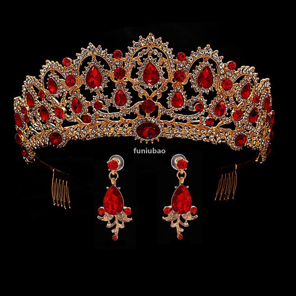Kırmızı Düğün Taç Altın Kraliyet Gelin Tiara Kraliçe Gelin Taç Ve Küpe Pageant Barok Kafa Prenses Saç Takı Süs T190620