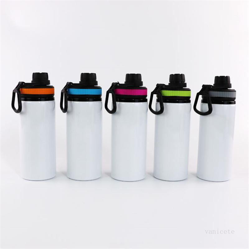 Sublimação de alumínio em branco garrafas de água 600ml chaleira resistente ao calor Cobertura de cor de esportes Capa de cor com o transporte marítimo T9i001162