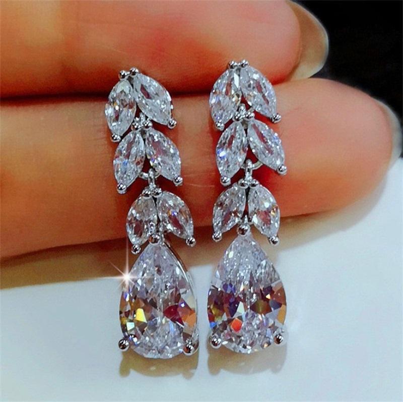 Orecchini di goccia di foglia di cristallo femminile di modo 925 orecchini in argento sterling 925 orecchini di diamante bianco boho gioielli di nozze lunghi orecchini pendenti lunghi 10 u2