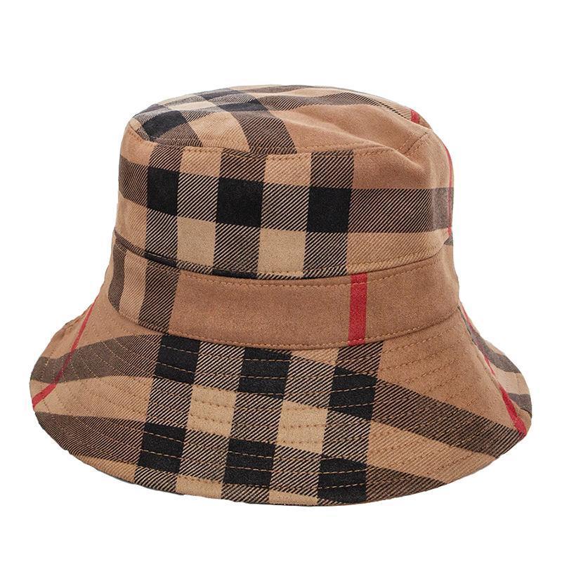 Sıcak sonbahar ve kış yeni renk ekose kadın süet havzası şapka rahat katlanır sıcak kadın balıkçı şapkası