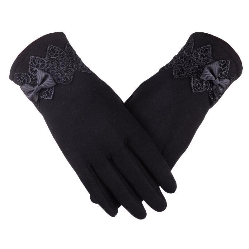 Gloves Women's Winter Warmcotton GlovesMittensWomen's GlovesBowknot Winter Gloves Add Velvet To Keep Warm Mittens