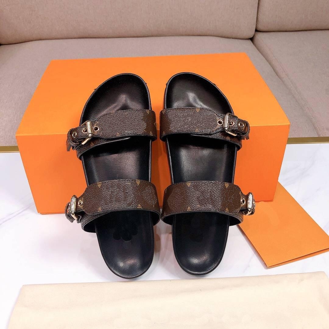 2021 Designer Femmes glissades Sandal Bom Dia Dia Plat Mule Slip-Pantoufle Toile Hommes Femmes Plage Diaposiches Semelles en caoutchouc Tonges d'été avec boîte A2