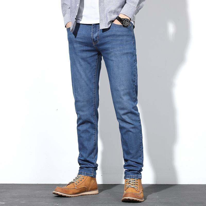 2021 New Hombre Otoño Estirar los pantalones vaqueros Masculina Moda Classic Style Style NY Pantalones Hombre Denim Pants Tallas 30-38 40 44 46 48 Y8UA