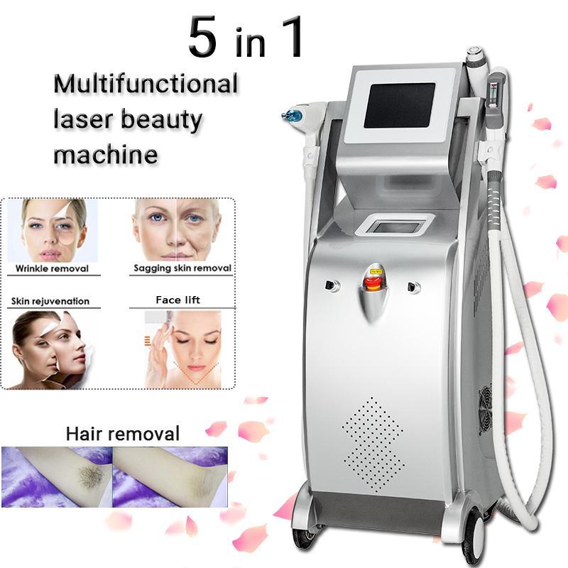 Machine de déménagement de tatouage de cheveux iPl laser Dépilación Permanente Beauté Salon Equipement IPL Beauty vitré 5 sur 1 palette