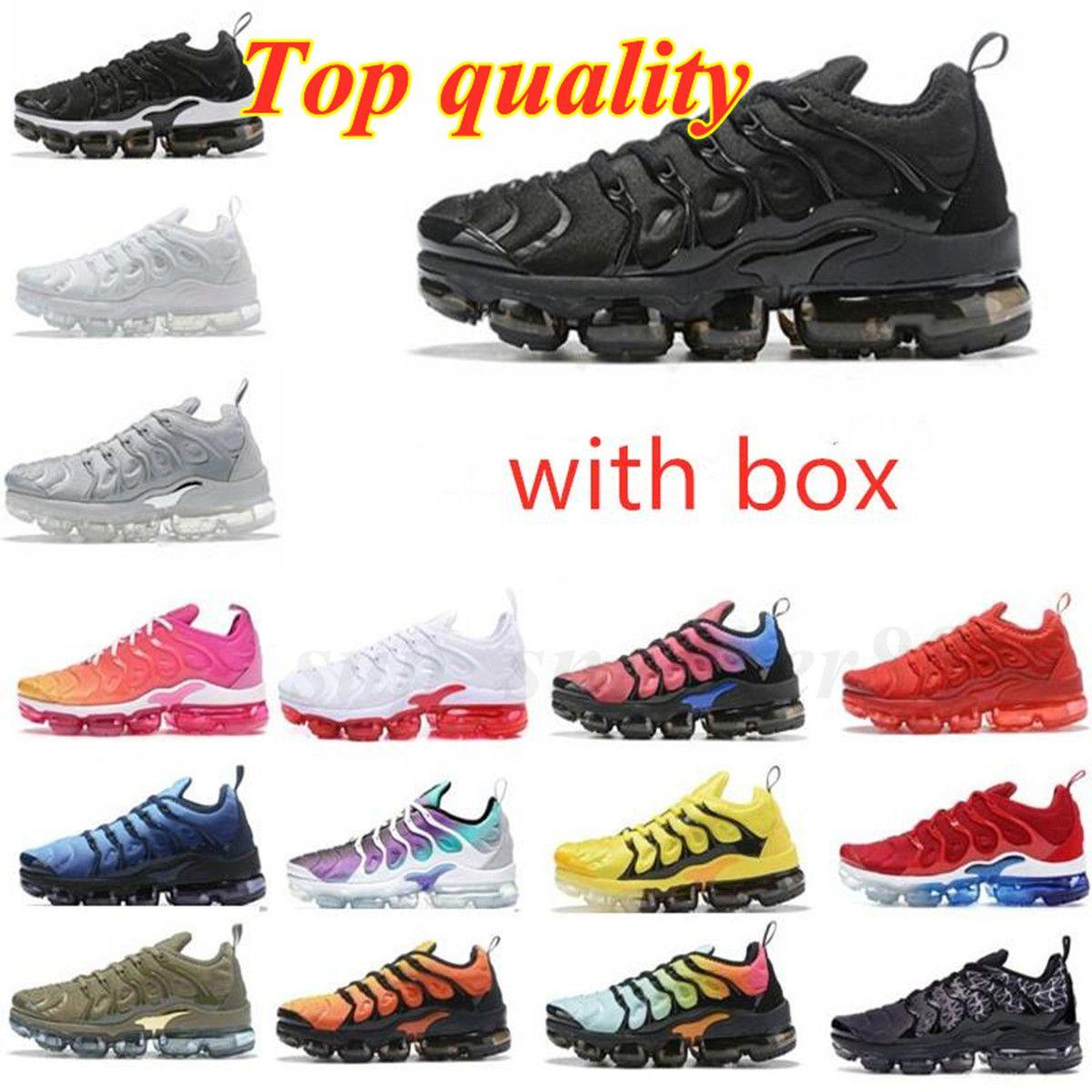 2021 TN Artı Metalik Beyaz Gümüş Üçlü Siyah Erkekler Koşu Ayakkabısı ile Kutusu Trainer Sneaker 40-45