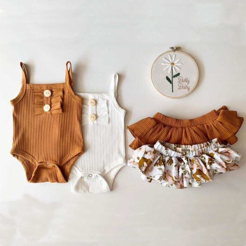 KT INS Wholesale Baby Kids Girls Suits Sleeveless Buttons Rompers with Floral Dress Shorts 2Pieces Summer Children Clothing Sets Outfits