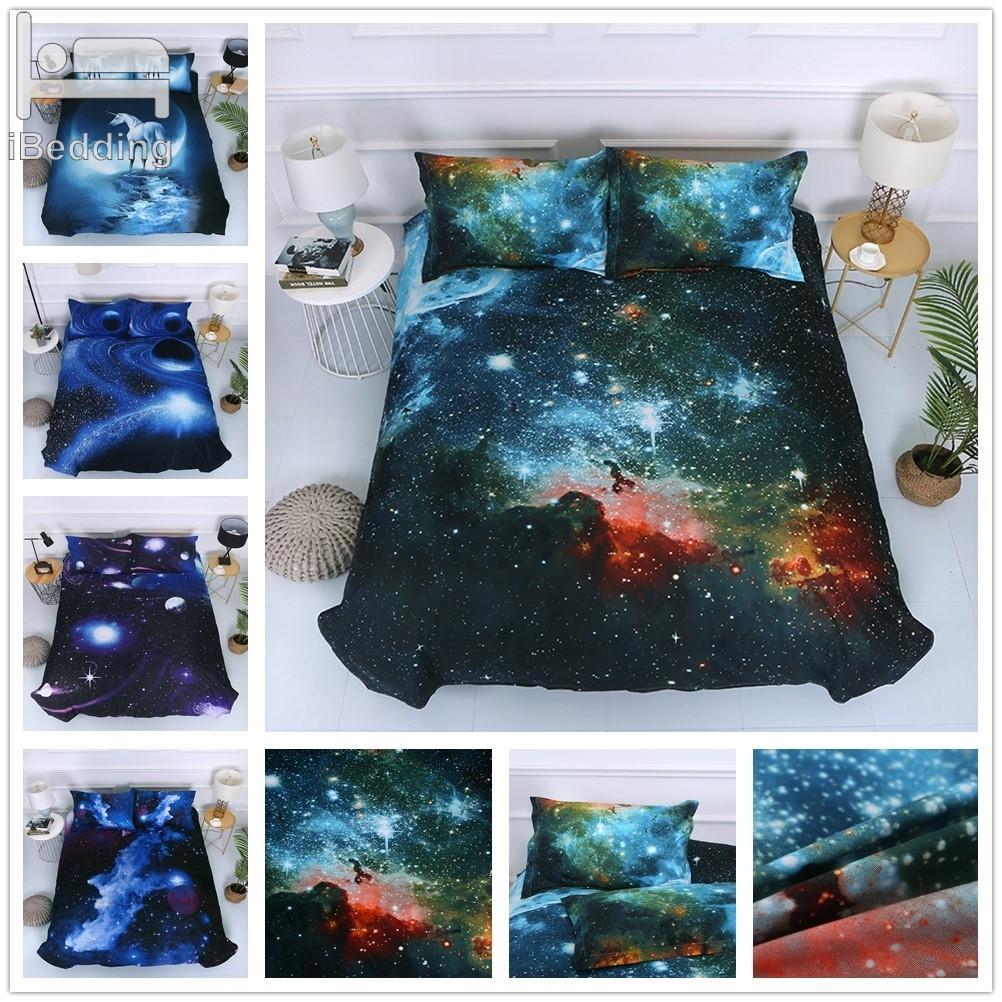 5 Stiles Galaxy Yıldızlı Gökyüzü Unicorn 3D Yatak Setleri Baskılı Nevresim Seti Kraliçe Kral Twin Boyutu C0223