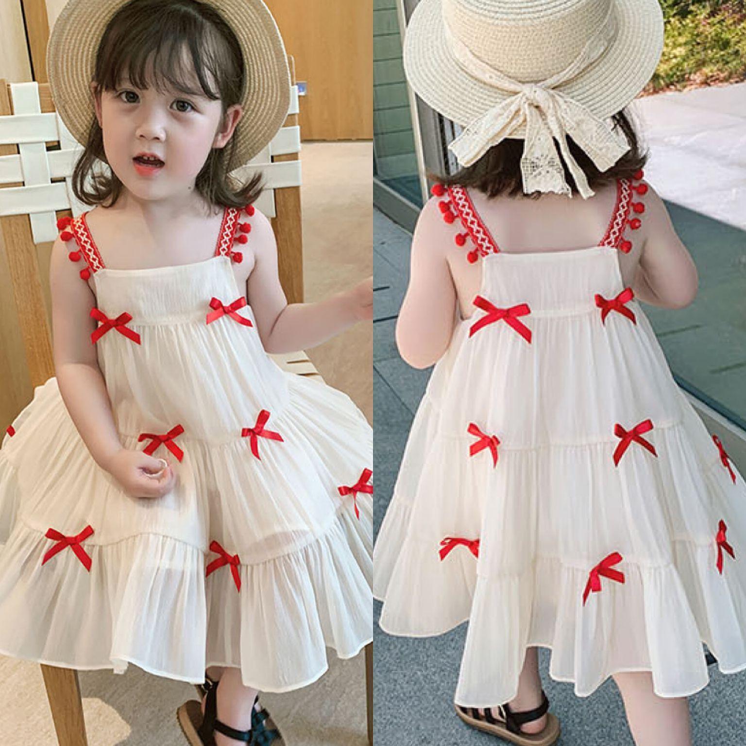 Girl's Sling Dress Sleeveless Bow Children Dress Fashion Cute Princess Summer Kids Vest Dress Small Girl Dresses