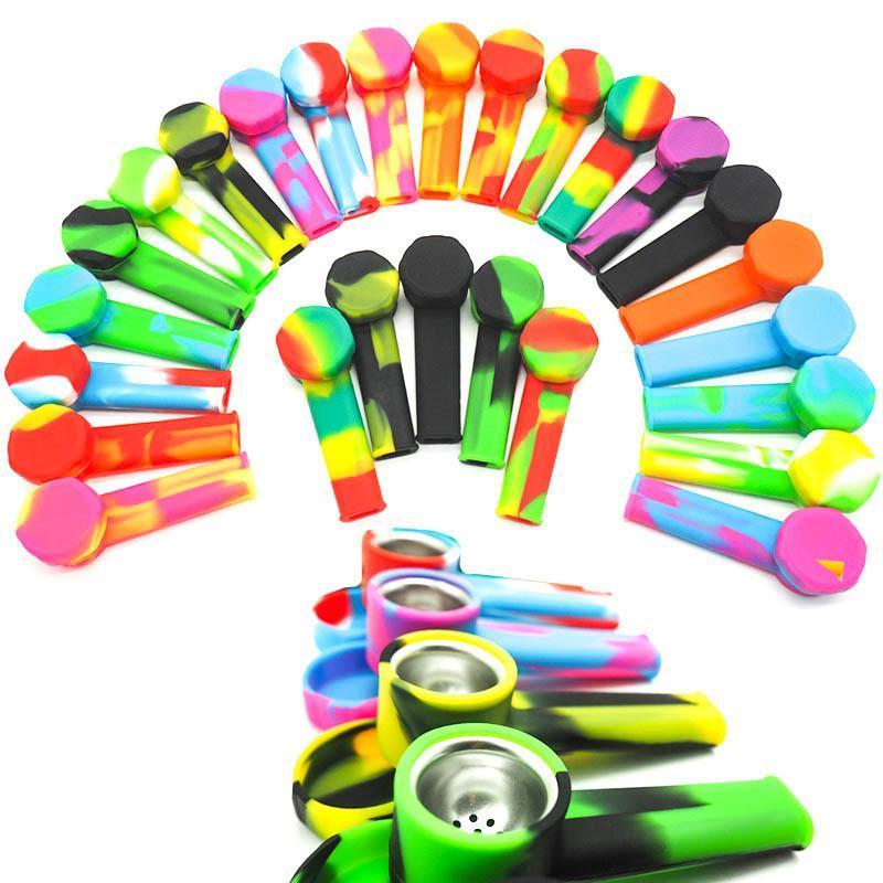 Silikonrohr mit Metallschale kreativer Silikon-Tabak-Tabak-Zigarettenrohr Wasser-Hukahn-Bong-Mix-Farben Handlöffel Rohre Werkzeuge Bong