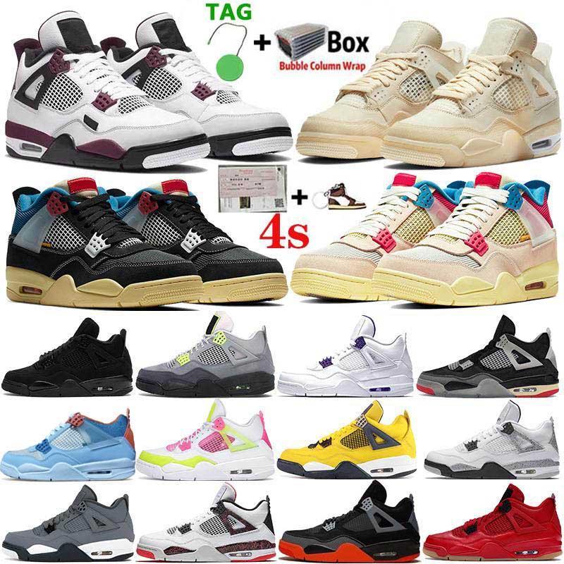 2020 وصول عالية أعلى 4 فون 4S الرجال Jumpman أحذية جديدة لكرة السلة الأبيض X الشراع الأرجواني المعدني OVO رش رجل الرياضة حذاء رياضة حجم 13