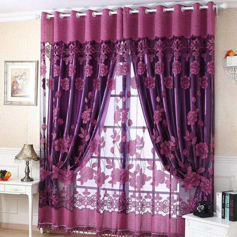 Elegant Luxurious Jacquard Window Curtains Burnout Tulle for Living Room Bedroom Door