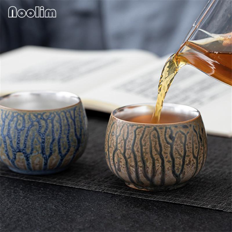 Cups & Saucers 999 Sterling Gilt Silver Kiln Change Teacups Ceramic Tea Cup Small Bowl Set Retro Water Mug Drinkware 125ML