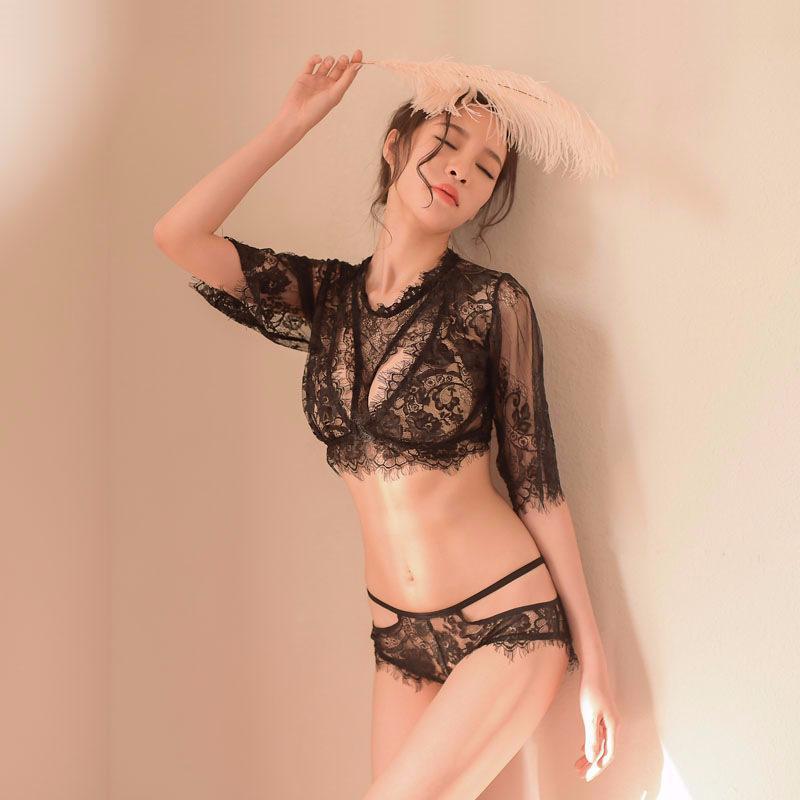 Новое полое прозрачное нижнее белье трех точечных ресниц кружева сплит сексуальные пижамы набор 976