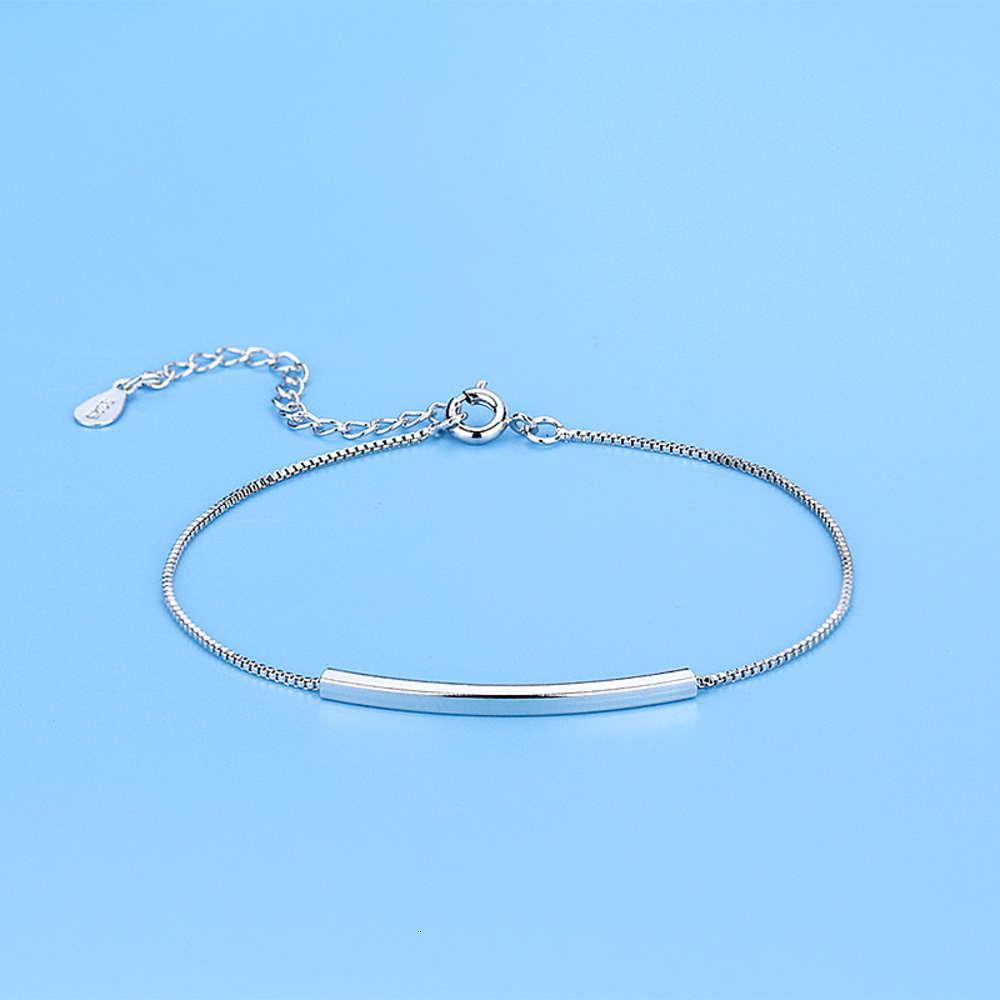 QiaoLanxuan Basit Ince Dirsek Yarıhirletin Tasarım Taklitler S925 Ayar Gümüş Bilezik Moda Aksesuarları Trend