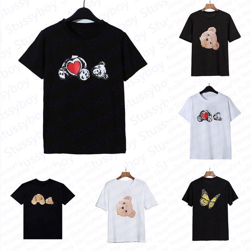 Urso de moda impresso verão camiseta homem mulher mulher preta branca tees homens mangas curtas tamanho polos tamanho s-xl