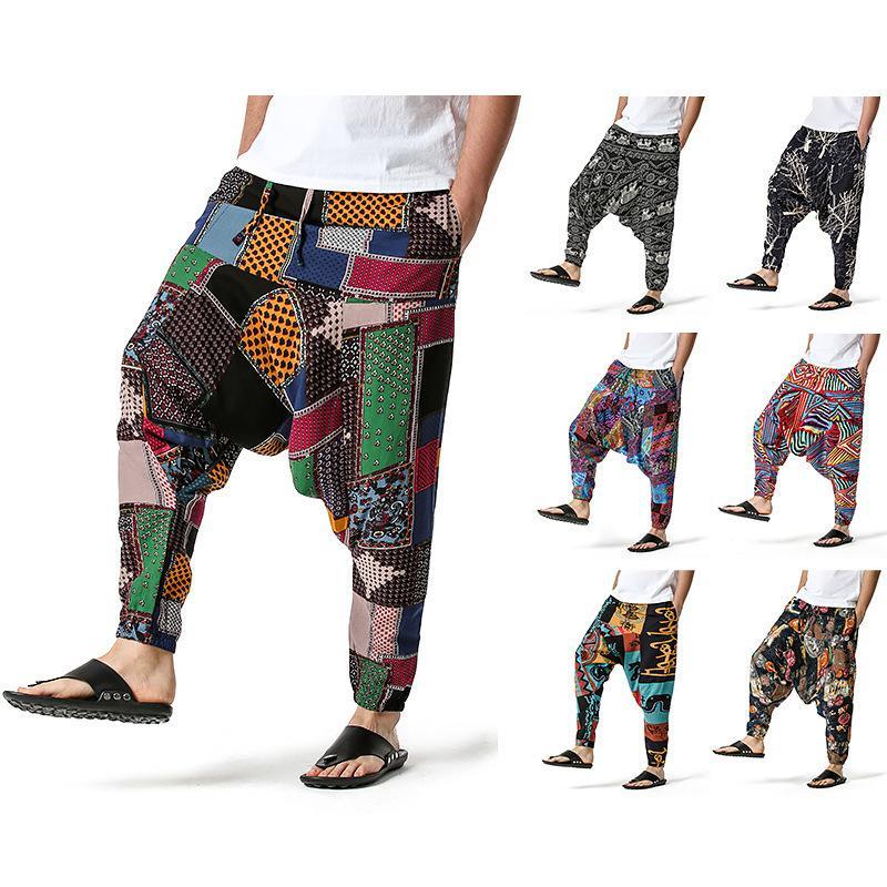 Mens Hiphop Haren брюки этнические богемные брюки свободные мальчики йога joggers модный цвет соответствует мужской нижней одежде