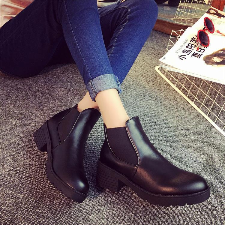 Сапоги Корейский стиль 2021 Весна и осень Коренастый каблук Модные Женские лодыжки однослойные круглые носки
