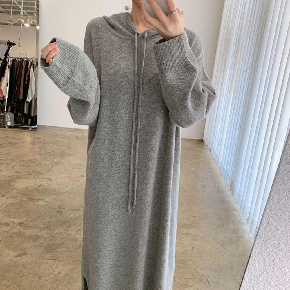 Chic Korean Design Sense Lazy Wind Sweater Sweater Cardigan Split Dress Suéter