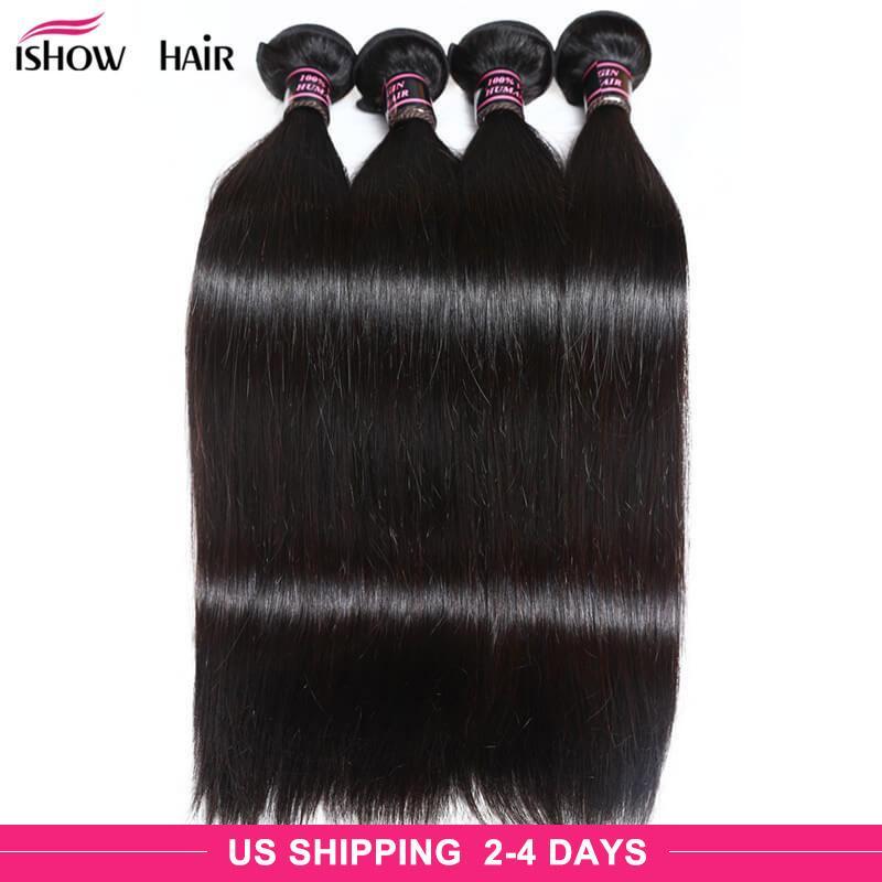 Brésilien péruvien maylasien soyeux cheveux raides 4 bundles ishow 8a vierge non transformée vierge pure extension de cheveux humains