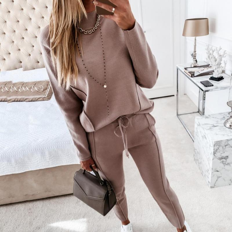 Tute da donna Donne Elegante Set solidi per l'autunno Inverno Inverno Due pezzi Set Outfit Manica lunga Camicetta Top Swisckstring Pants Sweatshirt Suits