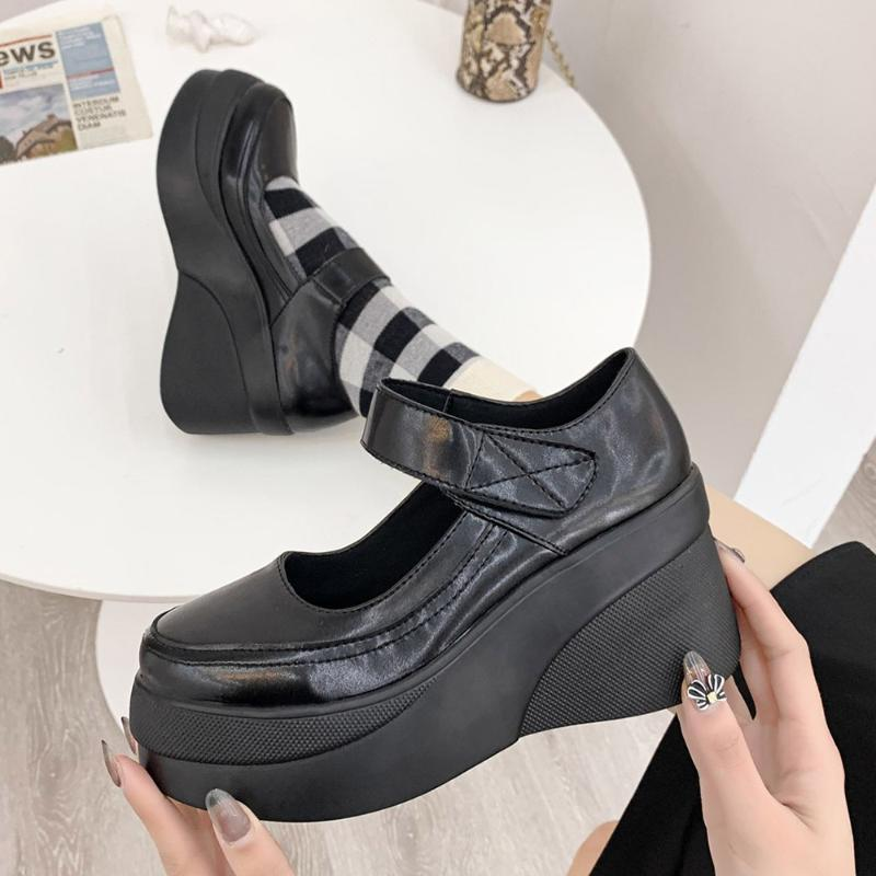 Chaussures robes 2021 Noir Hauts High Heels Femmes Pompes Fashion Cuir Plate-forme Cuir Femme Ronde Toile Marie Jane Mujer