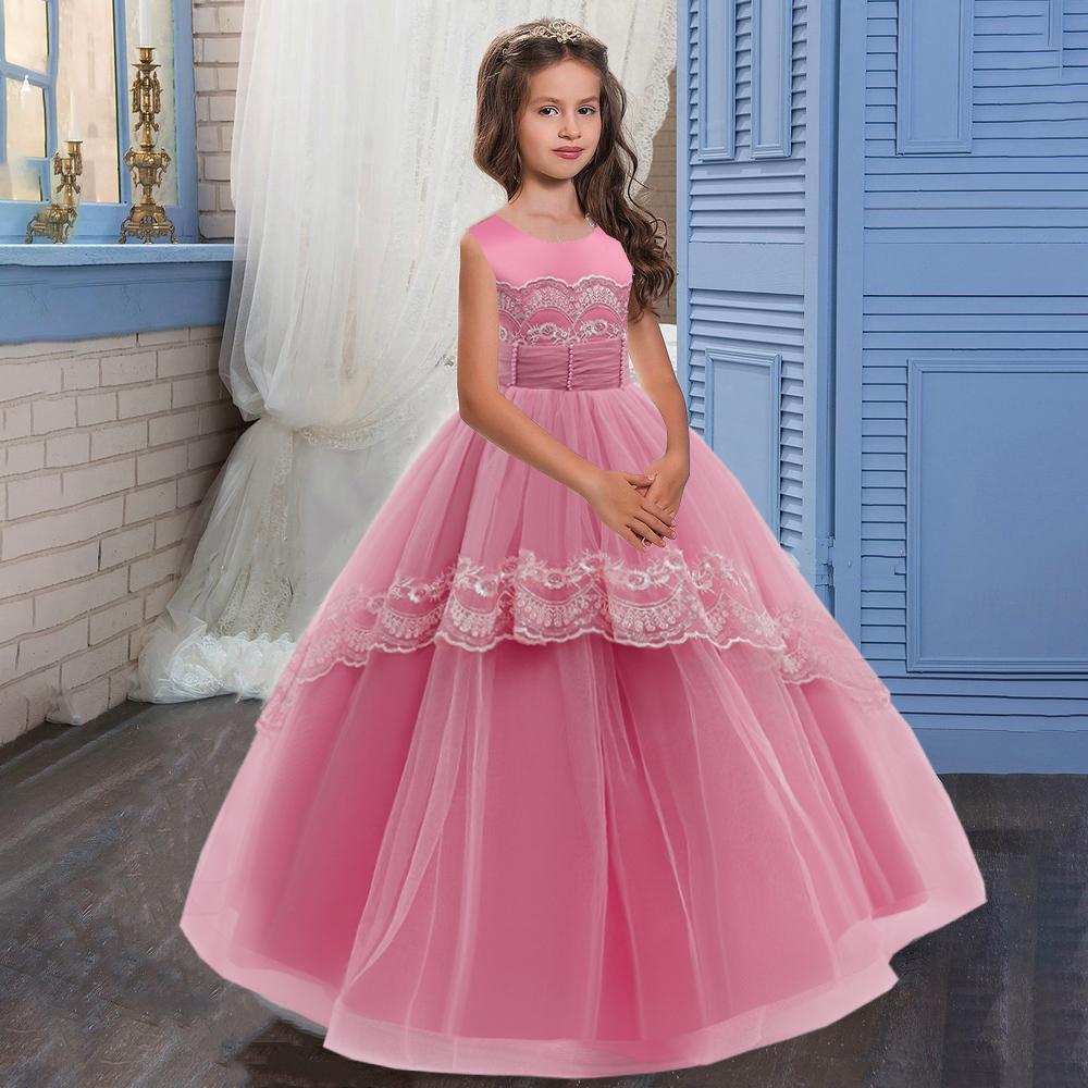 Flower Girls Vestido de noche Dama de honor vestidos de niños para niñas princesa vestido fiesta boda niños vestido ropa 8 12 y c0223