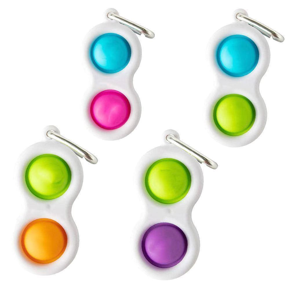 Adulto Push Pop Fidget Toys Keychain Semplice Decompressione Dito Bolla Giocattolo Portachiavi Portachiavi Anello Silicone Stress Ball Catena portachiavi H31HVFH