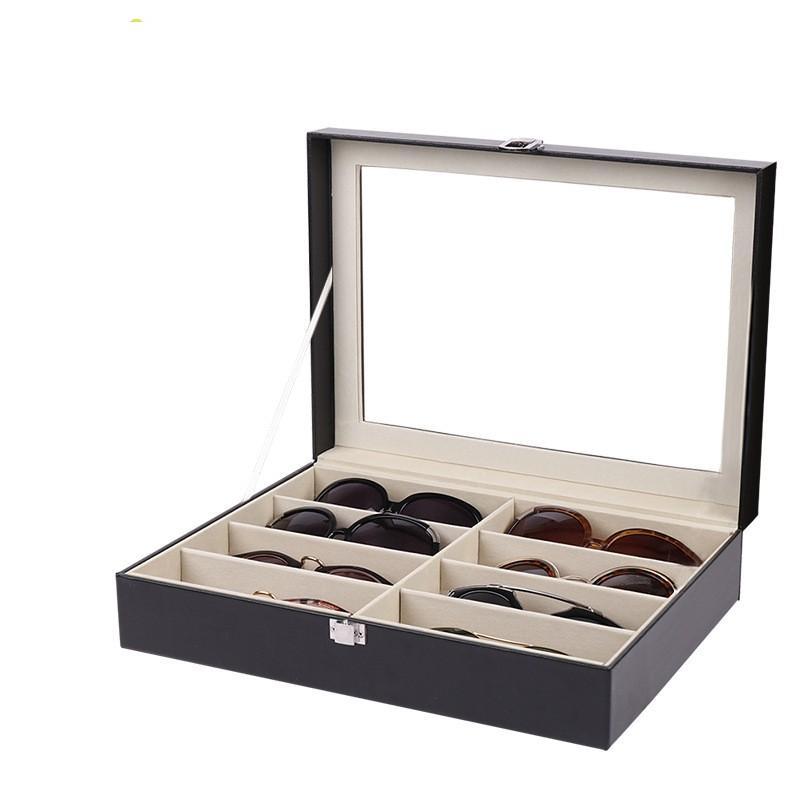 Caja de almacenamiento de gafas de sol de gafas con vidrios de cuero de imitación de ventana Mostrar caja de almacenamiento Organizador de almacenamiento Coleccionista 8 Slot GGA4246