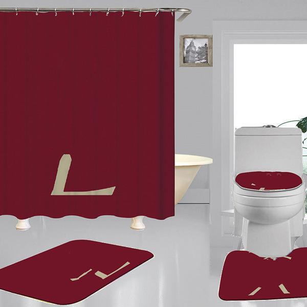 Trend Print Shower Curtains Sets Luxurious Design High-grade Four-piece Suit Bathroom Anti-peeping Non-slip Deodorant Bath toilet Mats