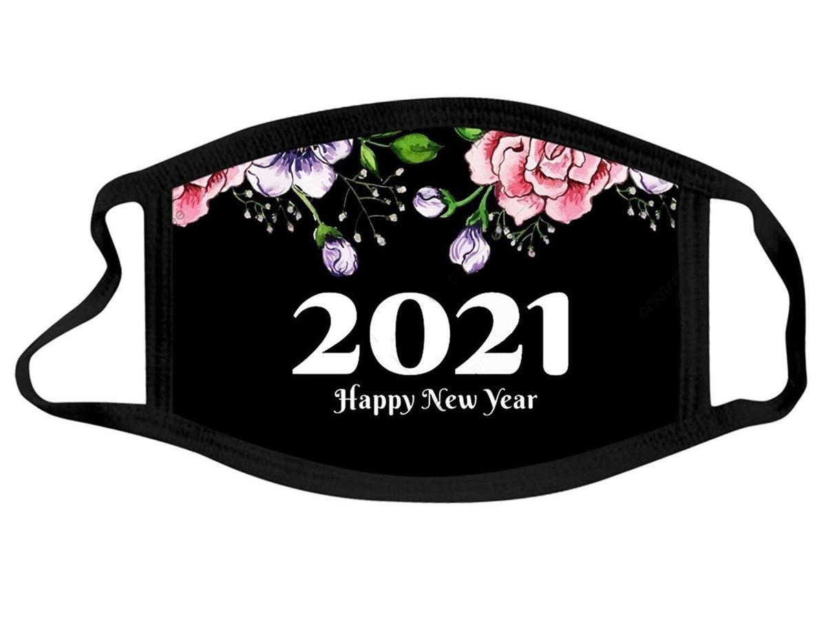 Máscara Año Nuevo Algodón Diseñador Lavable Boca Máscaras Adulto Feliz Año Nuevo Polvo Haz Haze Hombres Mujeres Negro Colorido Facenas Facenas Yys3171