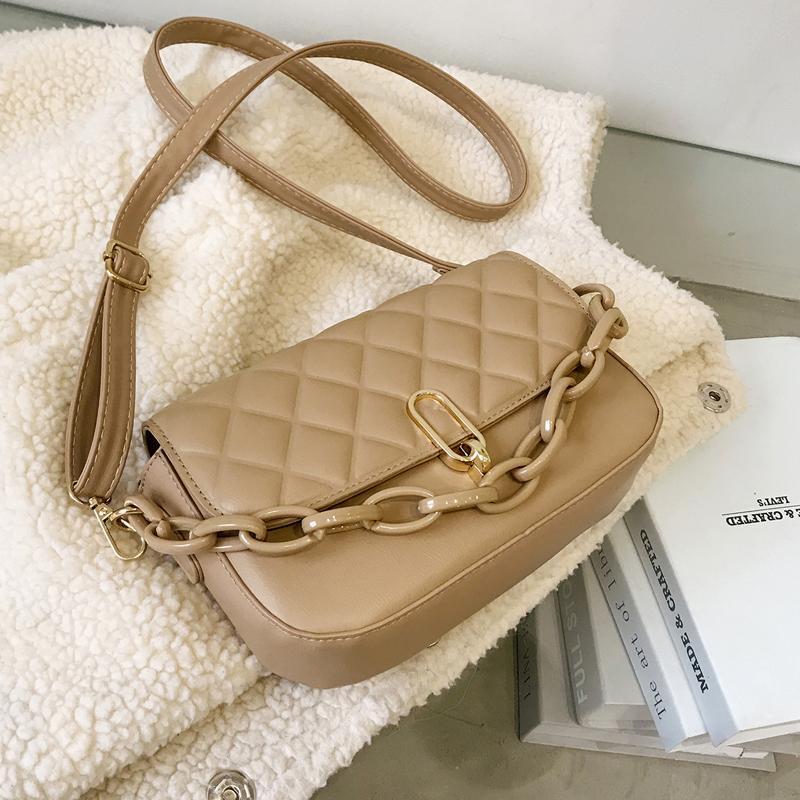 Сумки на ремне Black сумки и кошельки 2021 женская зимняя модная цепочка PU кожаная сумка для поперечины Bolsa