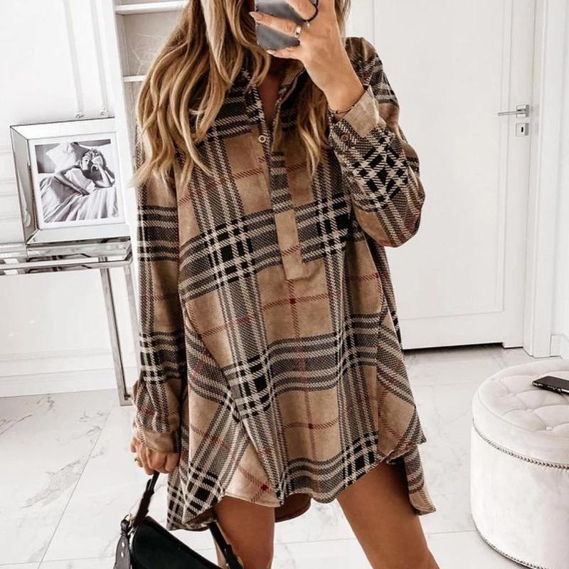 Sonbahar ekose baskılı kadın mini elbise uzun kollu turn-down yaka düğme kadın elbiseler streetwear rahat gevşek bayan giysileri 210303