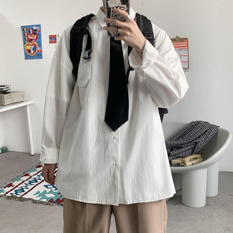 2021 Top de alta calidad Autumn Cotton Tie Moda de hombre Color sólido Camisa casual Hombres Streetwear Camisetas de manga larga para hombre S-2XL 9K0R