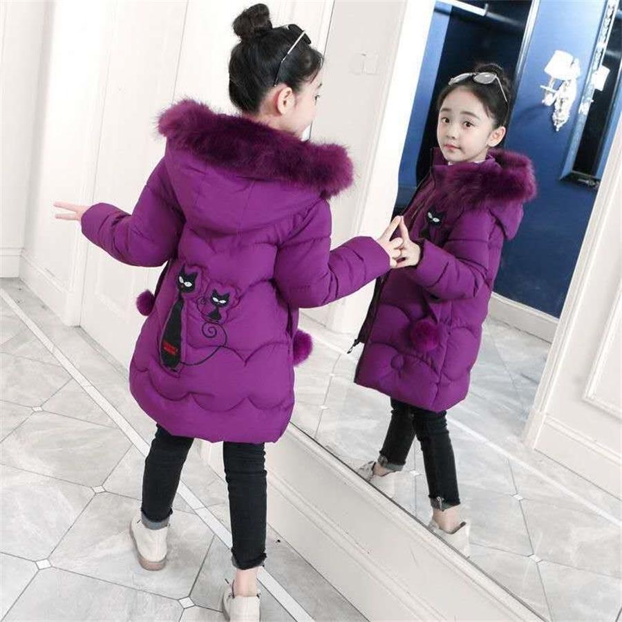 Chaquetas de invierno para niñas Ropa de abrigo caliente Parkas Chaquetas de invierno para niños Niños Grande de piel grande Ropa de abrigo para 4-16 años 201016