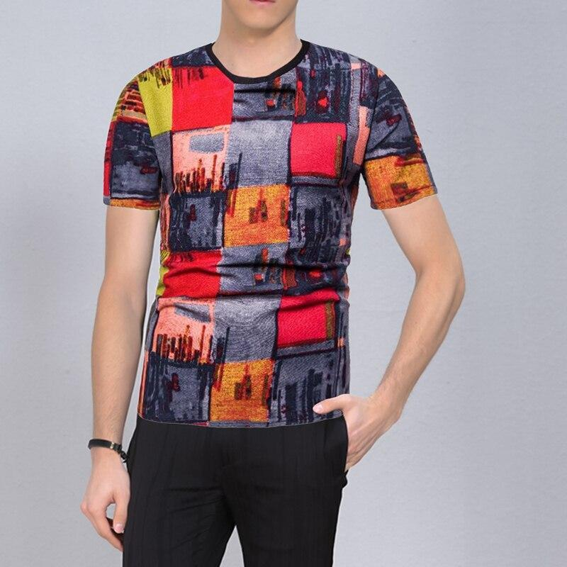 Мужские футболки старинные футболки Мужчины V шеи Harajuku Смешные 3D-принты Tees Рубашка хип-хоп городской стиль летние уличные вершины