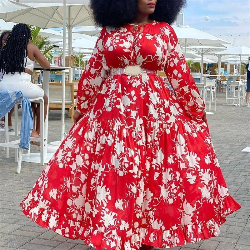 4XL 5XL Artı Boyutu Afrika Elbise Kadınlar Kırmızı Çiçek Baskı Uzun Kollu Kat Uzunluk Büyük Zarif Akşam Parti Vestidos Elbise Maxi 210303