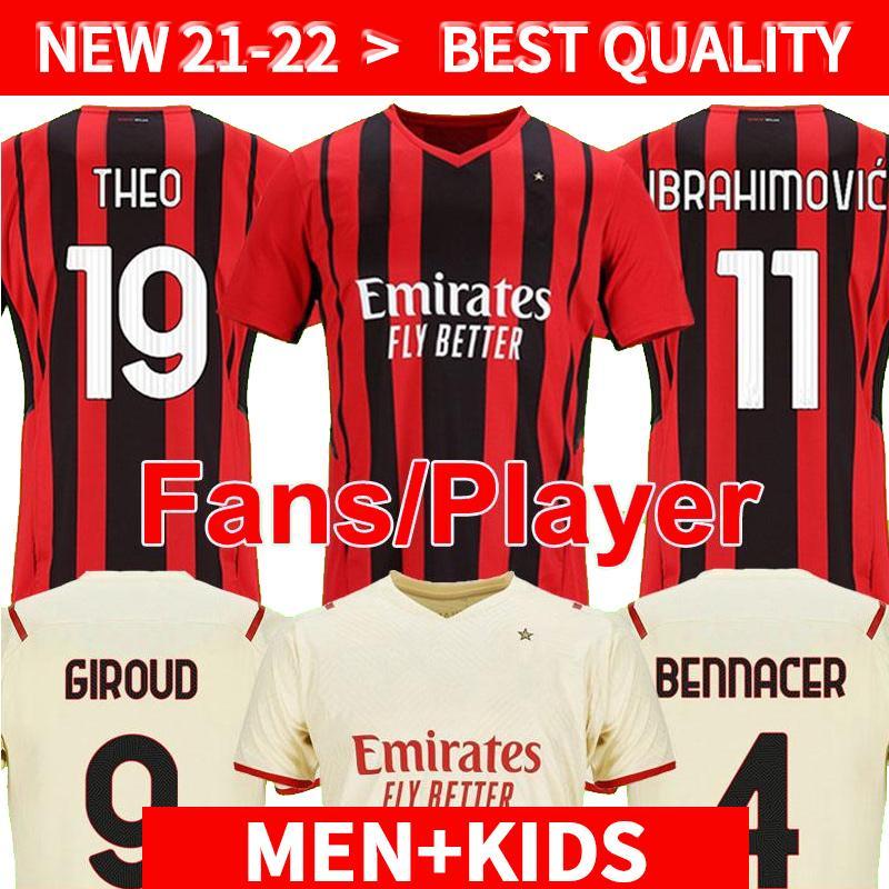 Version du joueur AC Milan 2021 2022 Jersey de football Ibrahimovic Paquetta Bennacer Romagnoli Calhanoglu 21 22 Chemise de football Tonali Rebic Maillot Men + Kit Kit