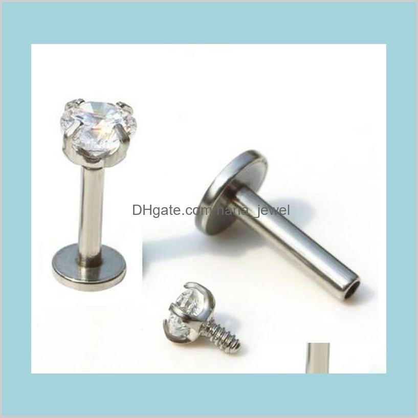 Threaded Prong Gem Trogus Hélice Piercing Body Jewelrystar Anel Lip Cubic Zirconia Internamente Stgk4 LGVDO