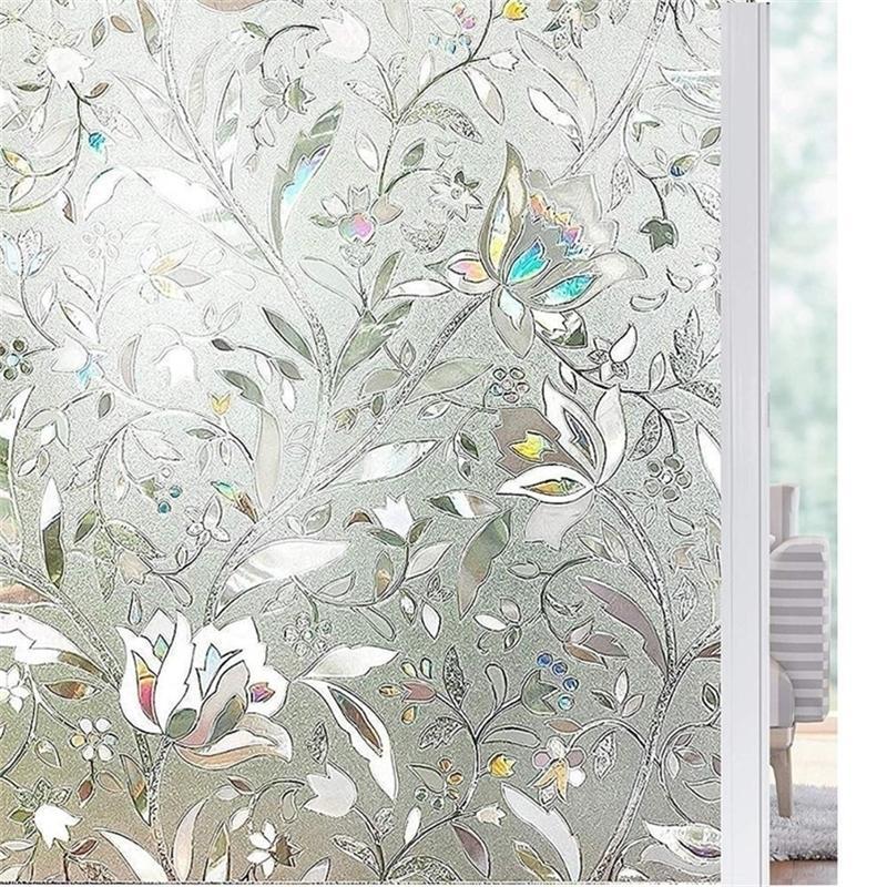 Length 200cm Tulip Flower 3D Static Cling decorative Privacy etched Glass Window Film Vinyl No-Glue Static Decorative films Y200421