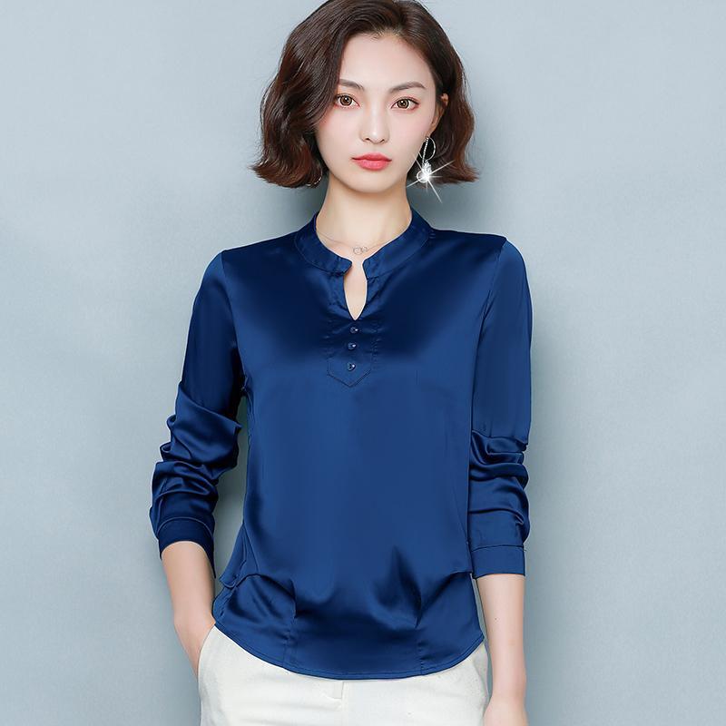Coréen Silk Femmes Blouses Femmes Satin T-shirts Élégante Femme Longue Chemisier Femme V Couille Chemise Plus Taille Blusas Mujer de Moda 210311