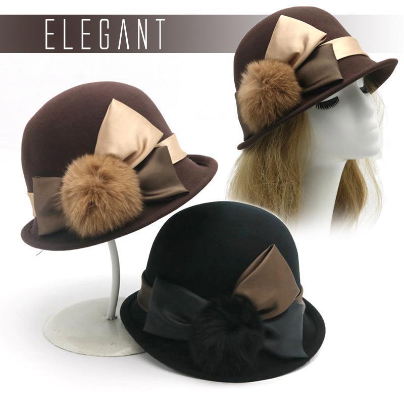 Vintage Fluffy Pompom Ball Cap Women Party Formal Headwear Lady Winter Elegant Fashion Bowknot Wool Felt Bucket Hat