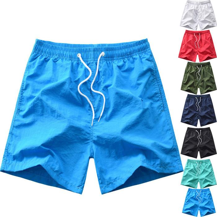 Solid Color Mens Waterproof Shorts Summer Loose Casual Board Shorts Fashion Breathable Men Beach Fitness Swimwear